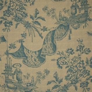 Chinese Toile  Turquoise Jasper Fabric