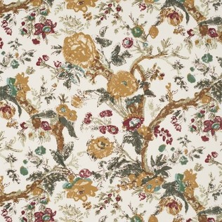 Bangalore Floral Brown Jasper Fabric