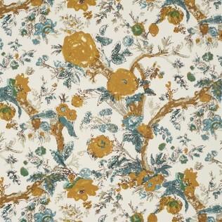 Bangalore Floral Saffron Jasper Fabric