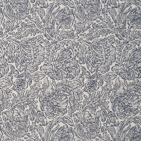 Woodblock Flower Indigo Jasper Fabric