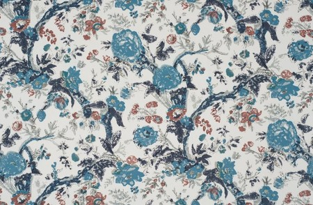 Bangalore Floral Blue Jasper Fabric