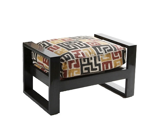 French Art Deco Ottoman   Small Ebony Jasper Furniture