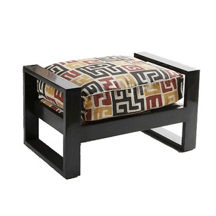 French Art Deco Ottoman - Small Ebony Jasper Furniture