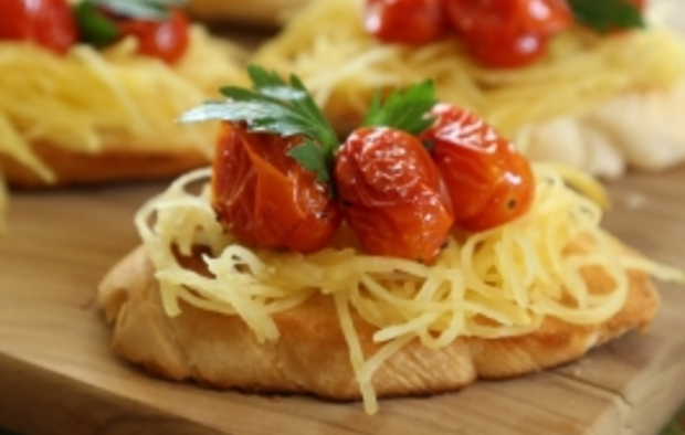 Spaghetti Squash Crostini with Herb-Roasted Cherry Tomatoes