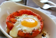 Baked Eggs in Roasted Tomatoes with Balsamic Drizzle