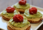 Roasted Tomato, Guacamole, and Hummus Naan Toasts