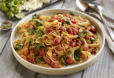 Fideos with Roasted Tomato, Chorizo and Chard