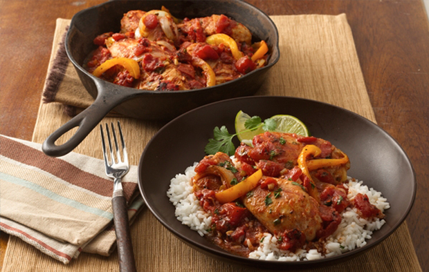 Braised Chicken with Tomatoes and Peppers