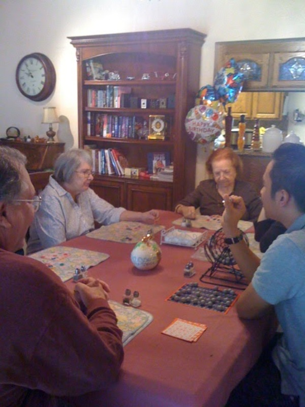 Glady playing bingo