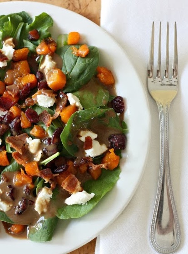 Butternut squash cranberry bacon goat cheese salad