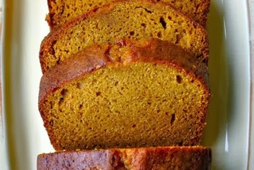 Pumpkin bread on serving plate