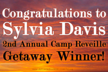 Congratulations sylvia davis 2nd annual camp reveille getaway winner