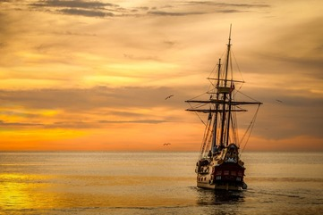 Sunset boat sea ship 37730