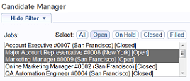 Candidate Manager Filters