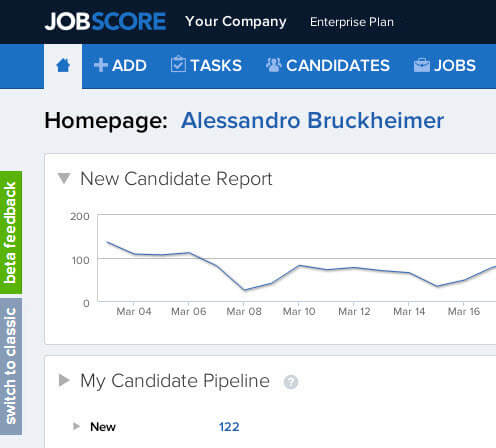 Refreshed JobScore User Interafce