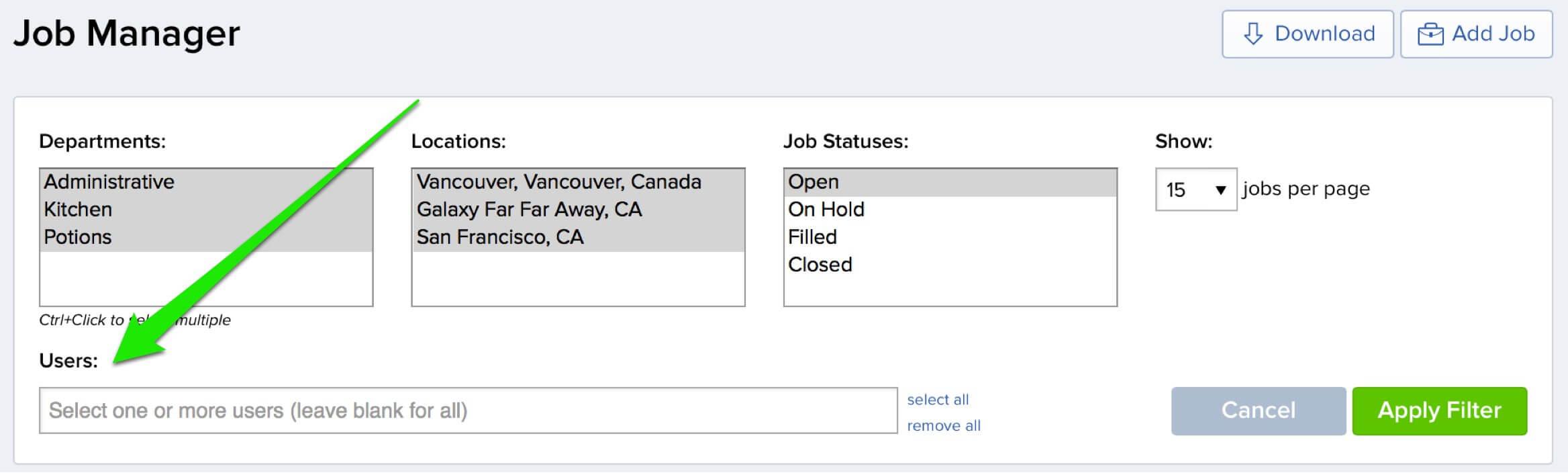JobScore job filter