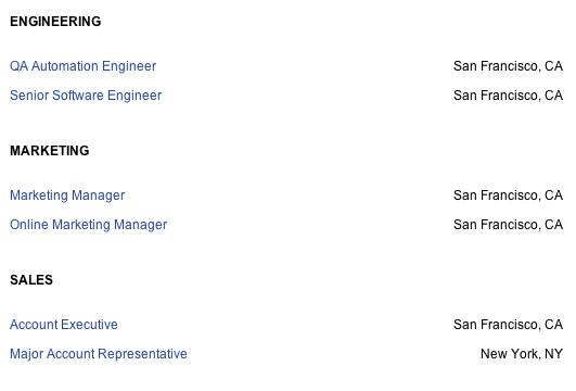 company careers page