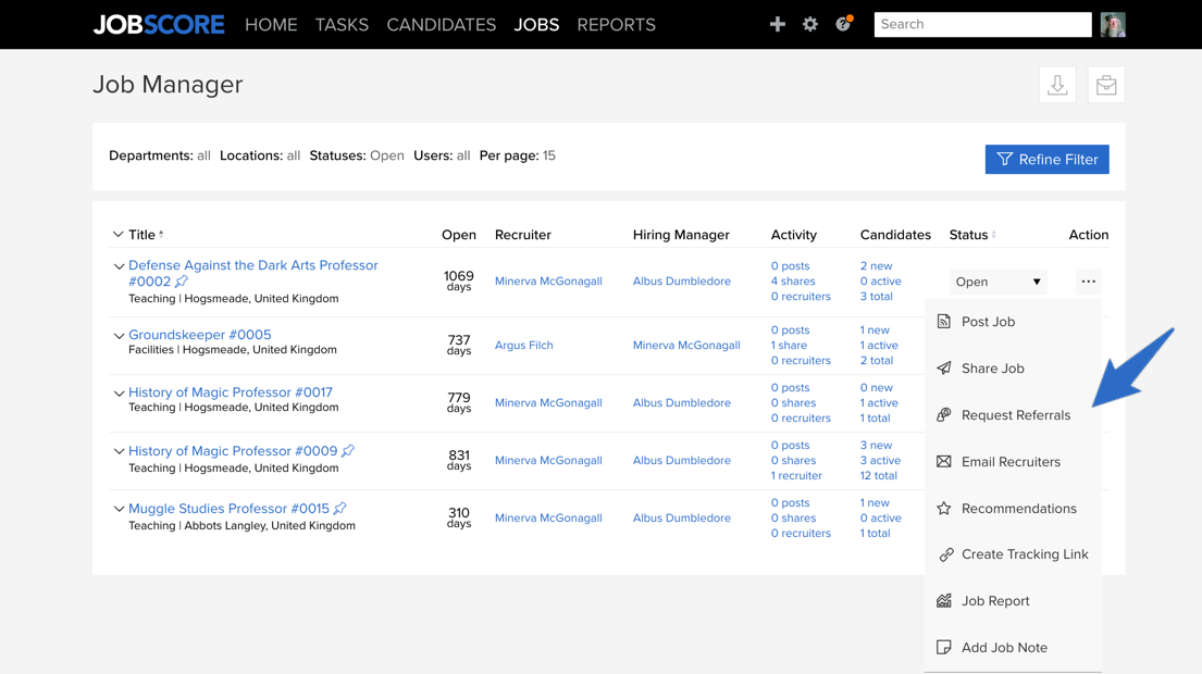 Open Action Menu on Job Manager