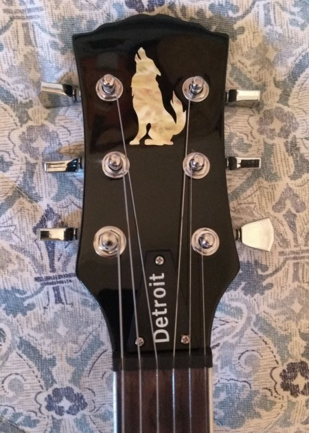Shelter Detroit SG with Wolf Inlay Sticker on headstock