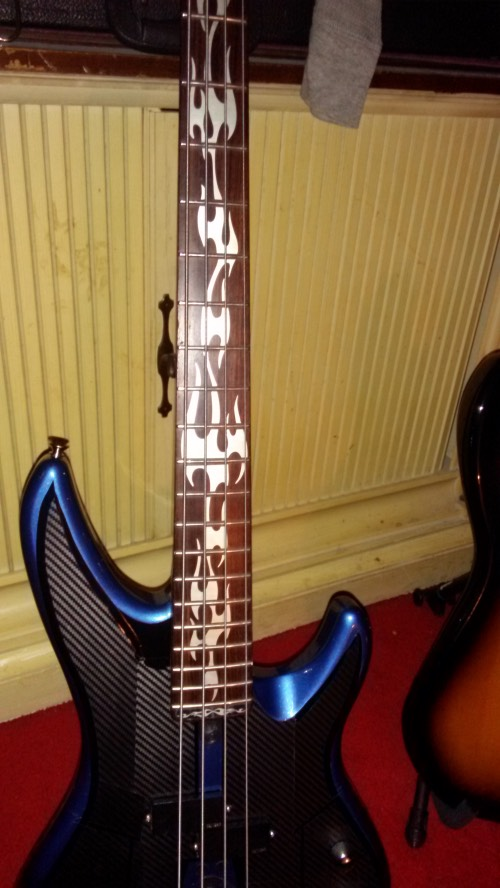 Fire Flames neck decal on Bass