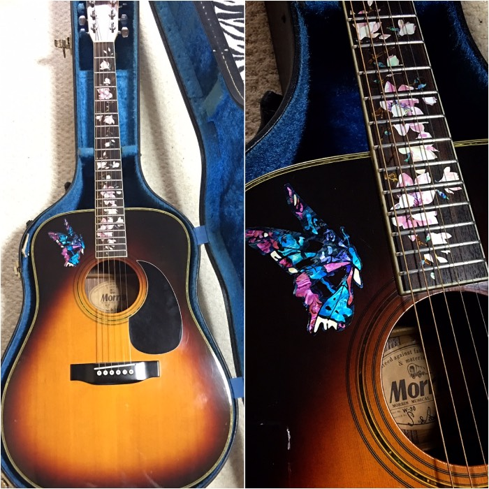 MORRIS Acoustic guitar W-30 with flower inlay decal