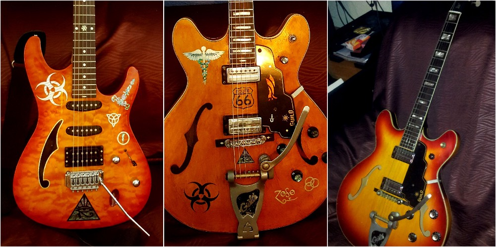 decoration guitar with inlay stickers