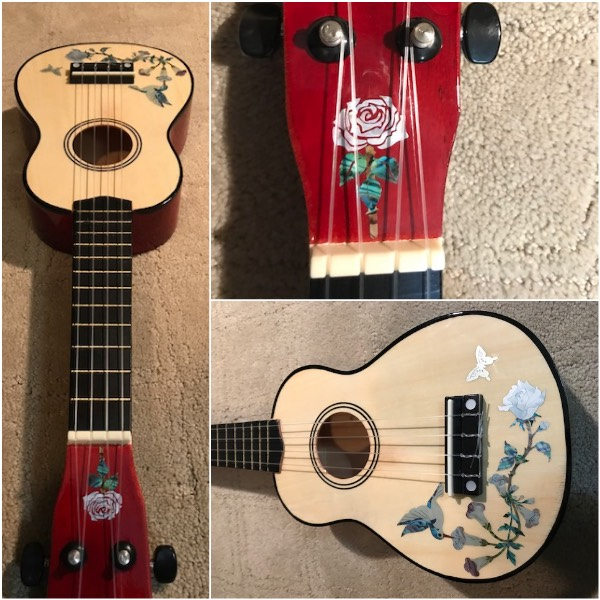 A Y ukulele with Rose inlay sticker