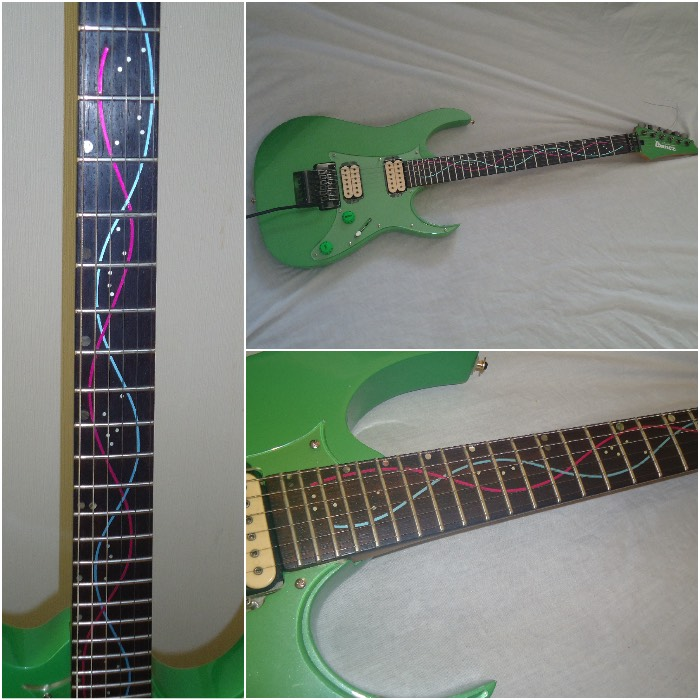Ibanez guitar with DNA Line Fret Markers Decal