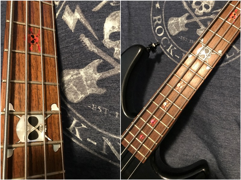 Skull Fret Markers (Abalone red) on Guitar Neck