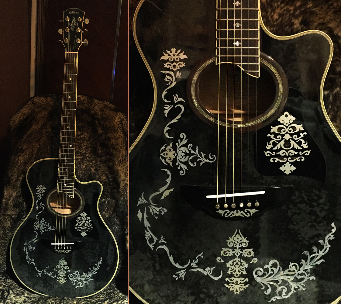 Classical Vintage Vine inlay decals with YAMAHA apx-10A