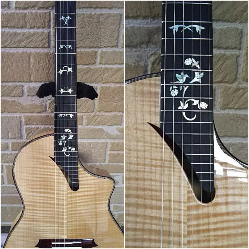 ポジションマークの無いガットギターにインレイステッカー