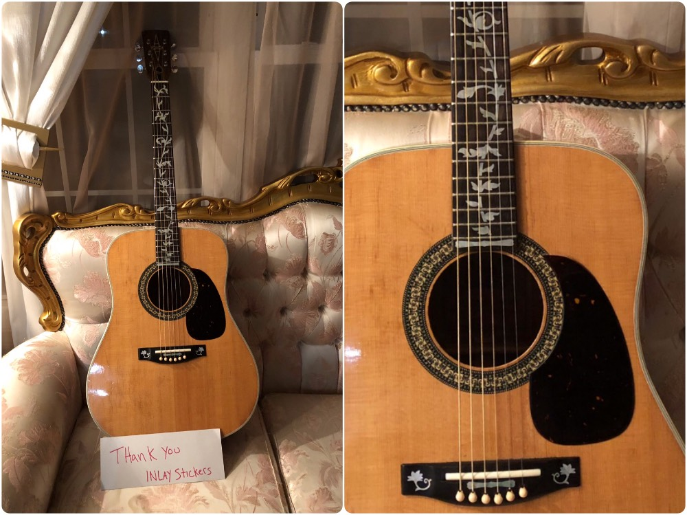 grandfather's acoustic guitar with tree vine inlay sticker