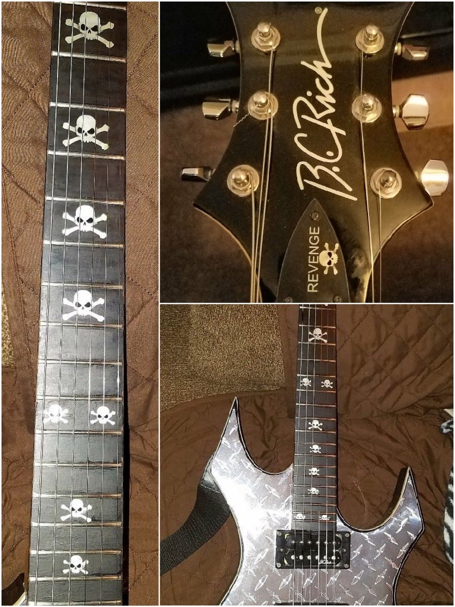 BC Rich Guitar with skull fret markers
