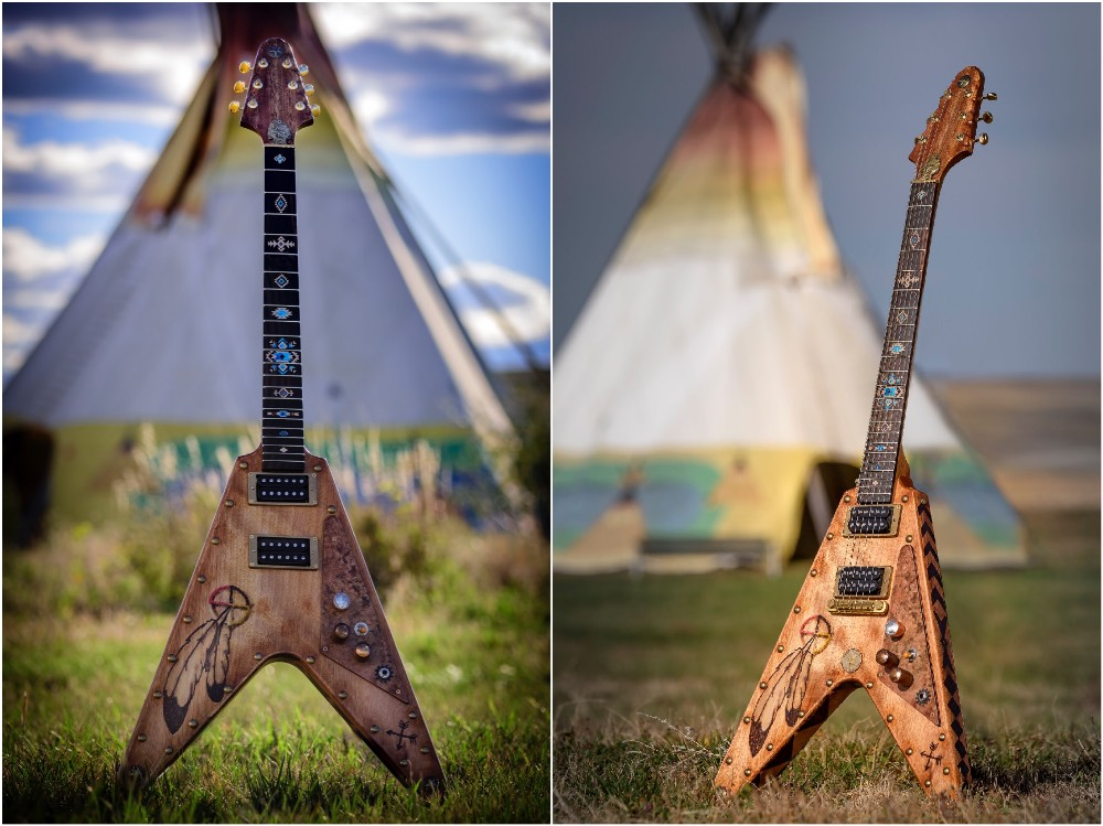 custom flying V guitar with native american style decals