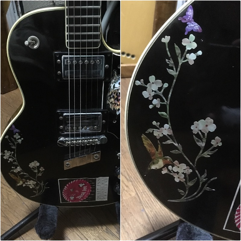 beautiful floret and bird inlay for acoustic guitar