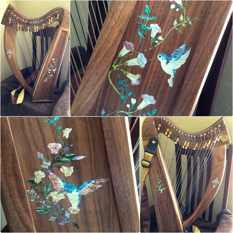 the harp with hummingbird and flowers inlay sticker