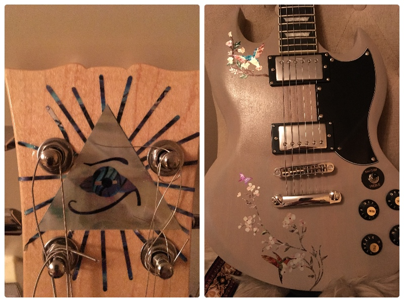 cosmic guitar with Pyramid Eye inlay decal