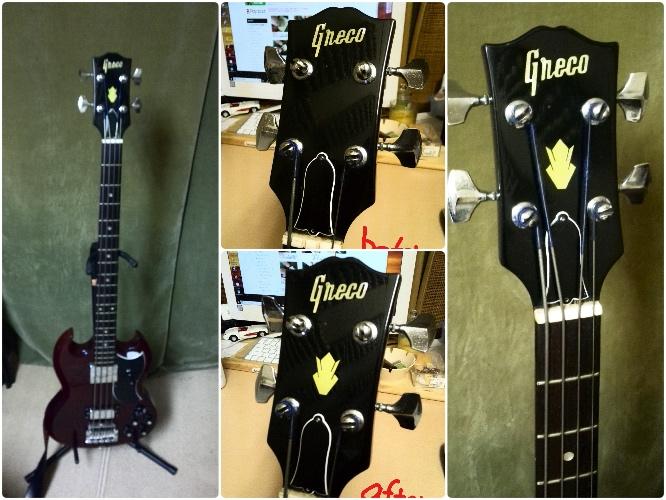 '70年代前期の Greco SG Bassにクラウンヘッドステッカー