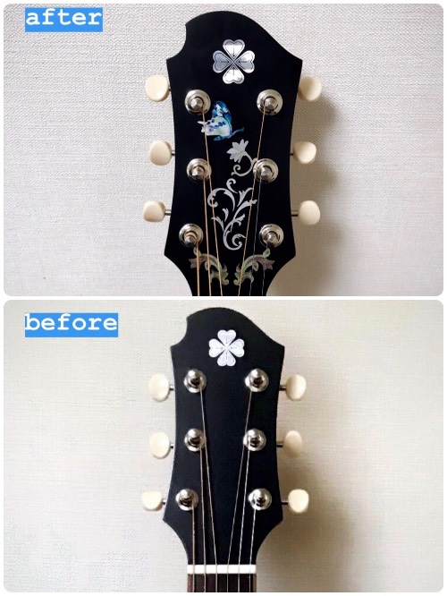 Jockomo's Butterfly Inlay Stickers on ZEMAITIS Guitar