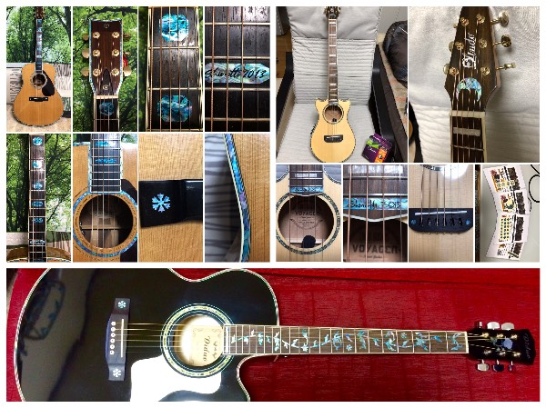 Jockomo's Abalone Blue Inlaystickers on Acoustic Guitars