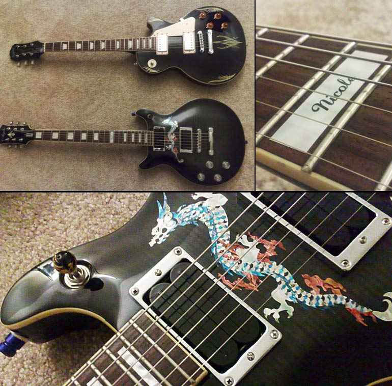 Here's my daughter's lefty black carved flametop Agile AD2500 with it.