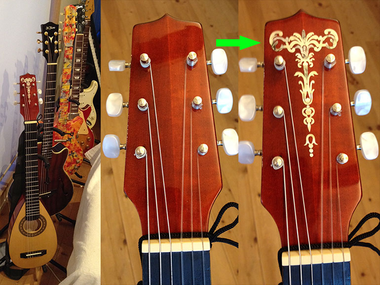 Hora guitar inlay decal headstock