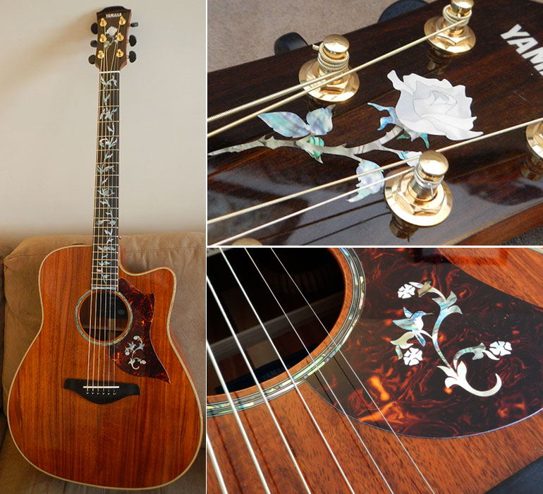 Yamaha Koa A4K guitar sticker bird rose