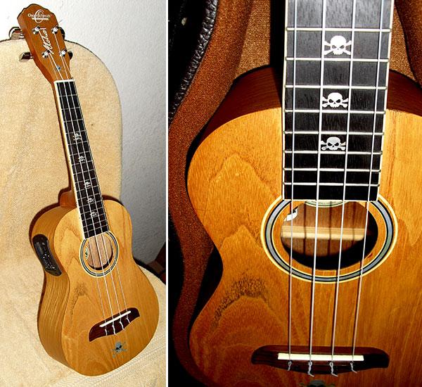 Oscar Schmidt ukulele skull decal inlay