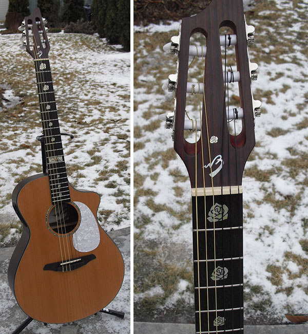 Breedlove rose neck inlay