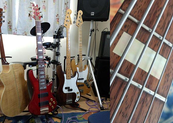 5弦ジャズベース用ブロックインレイ