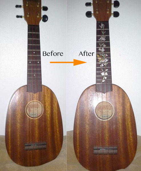 Pinapple ukulele neck inlay