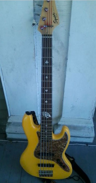 jazz bass with the playing card stickers