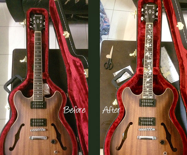 Ibanez/Artcore with hummingbird inlay