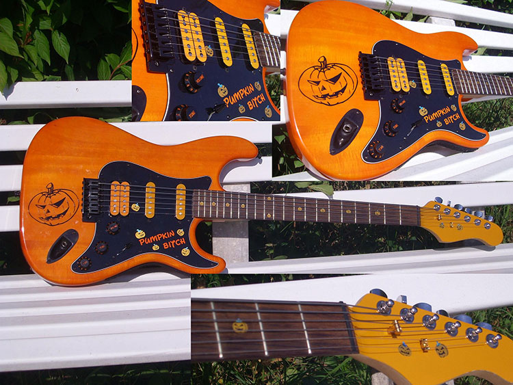 Pumpkin inlay for guitar neckー